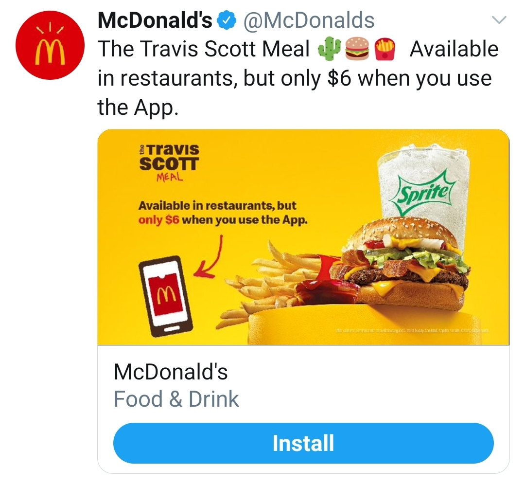 A tweet showing the McDonald